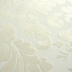 Plush Flocked Wallpaper Heritage Damask White/beige Velvet