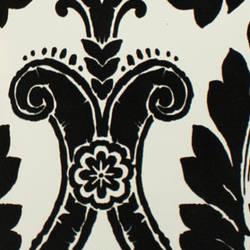 Plush Flocked Wallpaper Heritage Damask White/Black Velvet