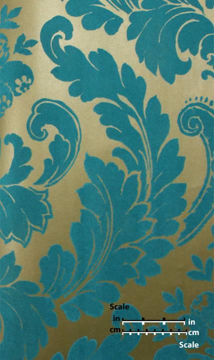 Plush Flocked Wallpaper Heritage Damask Gold Leaf/Teal Velvet