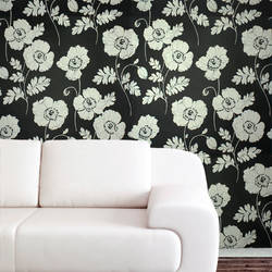 Plush Flocked Wallpaper Poppycock Ebony/White Velvet