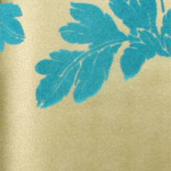 Plush Flocked Wallpaper Poppycock Gold Leaf/Teal Velvet