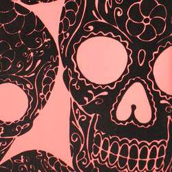 Plush Flocked Wallpaper Sugar Skulls Rose/Black Velvet