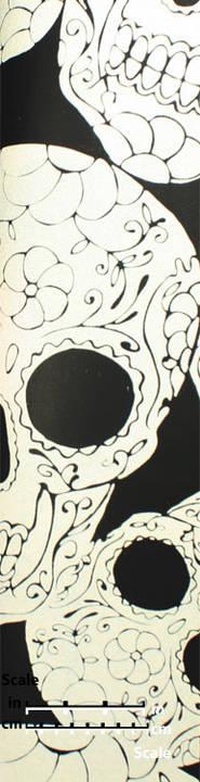 Plush Flocked Wallpaper Sugar Skulls Ebony/White Velvet