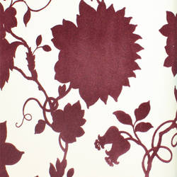 Plush Flocked Wallpaper Floral Toile White/Purple Velvet