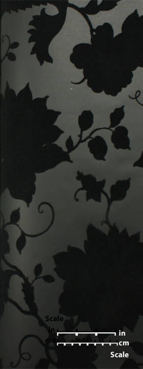 Plush Flocked Wallpaper Floral Toile Ebony/Black Velvet