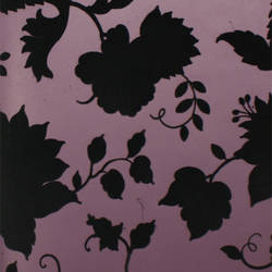 Plush Flocked Wallpaper Floral Toile Plum/Black Velvet