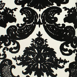 Classical Damask White/Black Flock