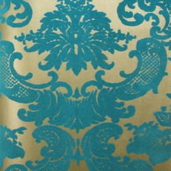 Classical Damask Gold Leaf/Teal Flock