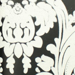 Plush Flocked Wallpaper Heirloom Damask Ebony/White Velvet