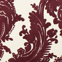 Plush Flocked Wallpaper Heirloom Damask White/Purple Velvet
