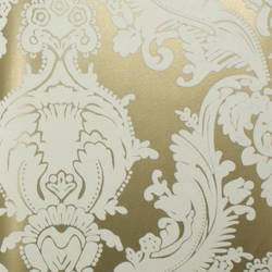 Plush Flocked Wallpaper Heirloom Damask Gold Leaf/White Velvet