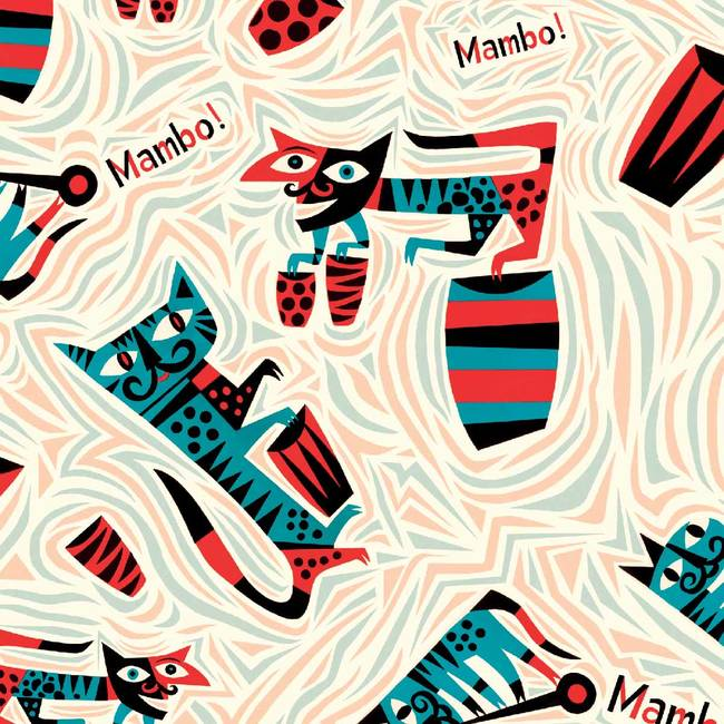 Mambo For Cats - Jim Flora Wallpaper Tiles
