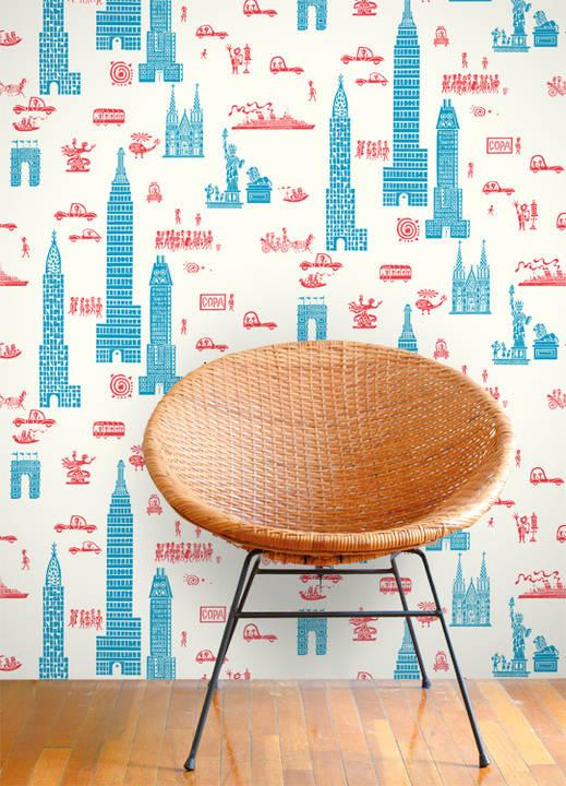 Manhattan, Red Blue - Jim Flora Wallpaper Tiles