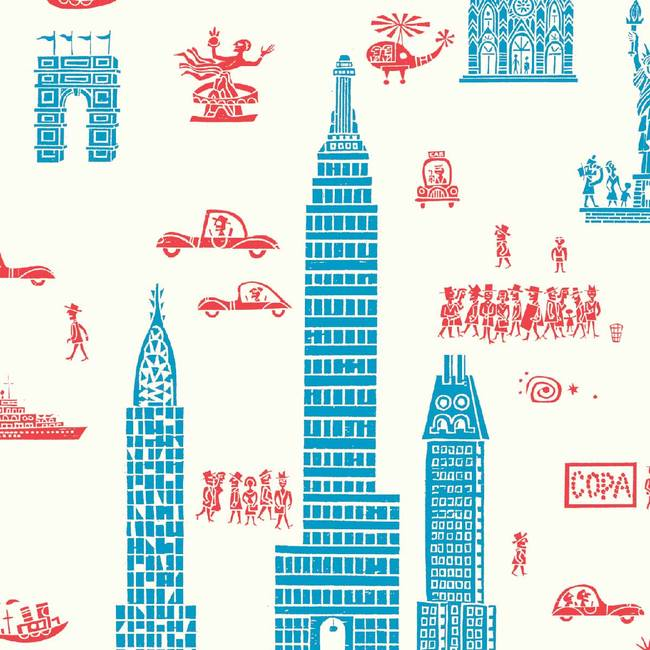 Manhattan, Red Blue - Jim Flora Wallpaper Tiles