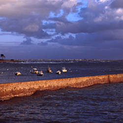 Waves breaking on jetty, Lomener Harbour, Morbihan, Brittany, France