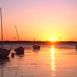 Boats in the river at sunrise, Vilaine, Penestin, Morbihan, Brittany, France