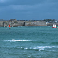 Sailboats in front of citadel, Vauban Citadel, Port-Louis, Morbihan, Brittany, France