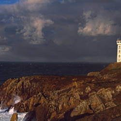 Lighthouse at a coast, Pointe Saint Mathieu, Finistere, Brittany, France