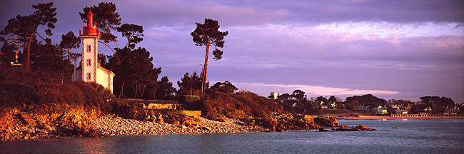 Lighthouse at a coast, Sainte-Marine Lighthouse, Benodet, Finistere, Brittany, France