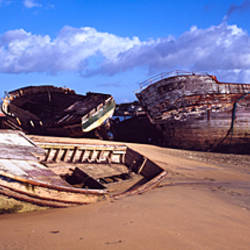 Abandoned fishing boats on the beach, Etel River, Morbihan, Brittany, France