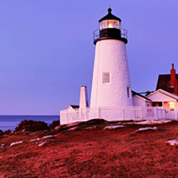 Lighthouse at a coast, Pemaquid Point Lighthouse, Bristol, Lincoln County, Maine, USA