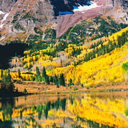 Reflection of a mountain in the lake, Maroon Bells, Elk Mountains, Pitkin County, Colorado, USA