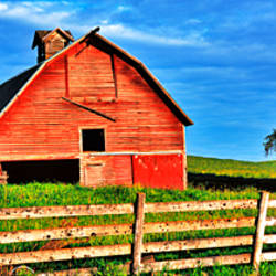 Old barn with fence in a field, Palouse, Whitman County, Washington State, USA