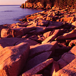 Rock formations on the coast at sunset