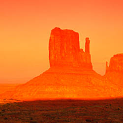 Buttes at sunrise, The Mittens, Monument Valley Tribal Park, Monument Valley, Utah, USA