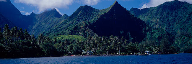 Mountains and buildings at the coast, Tahiti, Society Islands, French Polynesia