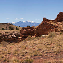 Ruins of a building, Lomaki Pueblo, Wupatki National Monument, San Francisco Peaks, Flagstaff, Arizona, USA