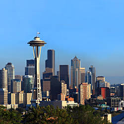 Buildings in a city with mountains in the background, Space Needle, Mt Rainier, Seattle, King County, Washington State, USA 2010