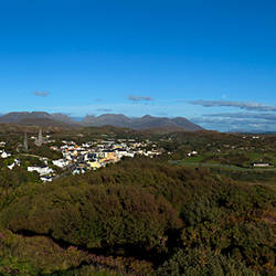 Aerial View of Clifden Town with distant 12 Pin Mountain Range, Connemara, County Galway, Ireland