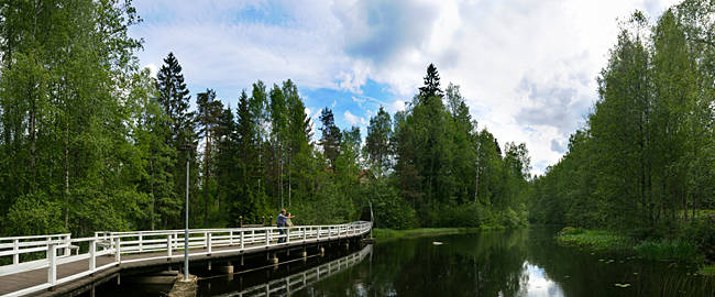 Boardwalk over a lake, Tirvit, Kouvola, Finland