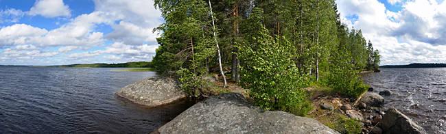 Trees on an island in a lake, Lake Miettula, Rapojarvi, Kouvola, Finland