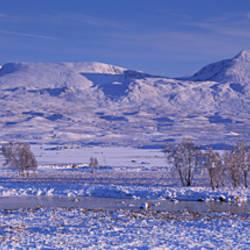 Snow covered landscape, Loch Ba, Glas Bheinn, Highlands, Scotland