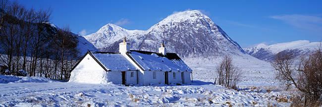 Snow covered cottage, Black Rock Cottage, Rannoch Moor, Highlands, Scotland