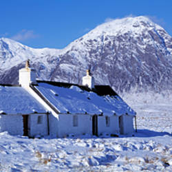 Snow covered cottage, Black Rock Cottage, Rannoch Moor, Highlands, Scotland