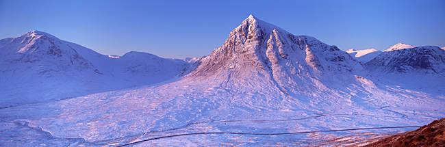 Snow covered landscape, Buachaille Etive Mor, Rannoch Moor, Highlands, Scotland