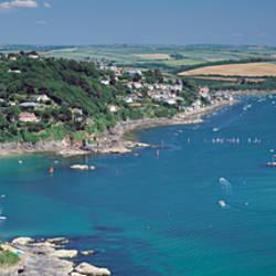 Aerial view of a coastline, Salcombe Estuary, South Devon, Devon, England