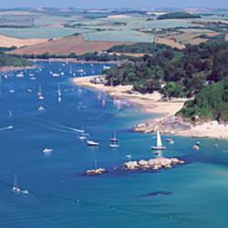 Aerial view of a coastline, East Portlemouth, Salcombe Estuary, South Devon, Devon, England