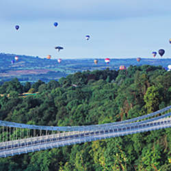 Suspension bridge over a forest, Bristol International Balloon Fiesta, Clifton Suspension Bridge, Bristol, England
