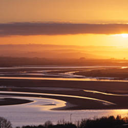 Sunset over a river, River Taw, Barnstaple, North Devon, Devon, England