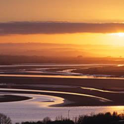 Sunset over a river, River Taw, Barnstaple, North Devon, Devon, England