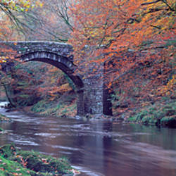 Bridge over a river, Holne Bridge, River Dart, Dartmoor, Devon, England