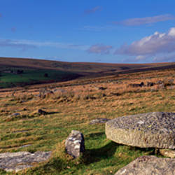 Neolithic stone rows on a landscape, Merrivale, Dartmoor, Devon, England