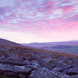 Rock formations on a tor, Belstone Tor, Dartmoor, Devon, England