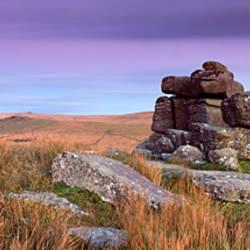 Rock formations on a hill, Black Tor, Dartmoor, Devon, England