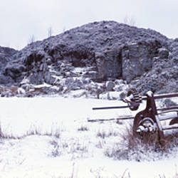 Snow covered landscape, Haytor Quarry, Dartmoor, Devon, England