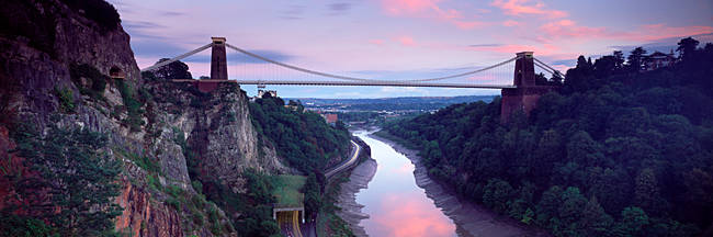 Suspension bridge leading to rocks, Clifton Suspension Bridge, Bristol, England